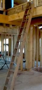 Steady wooden ladder