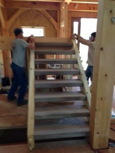 Aaron and Ben erecting steps