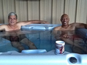Hot tub soothing old guys groaning muscles.