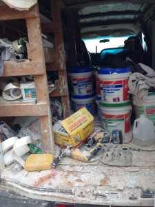 A glance into the drywall worker's truck.