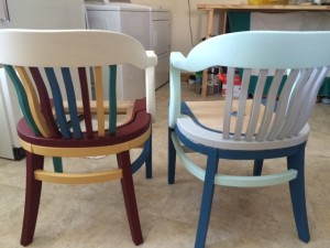 After adding paint to the chairs