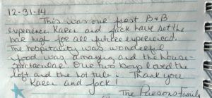 positive guests comments in journal entry